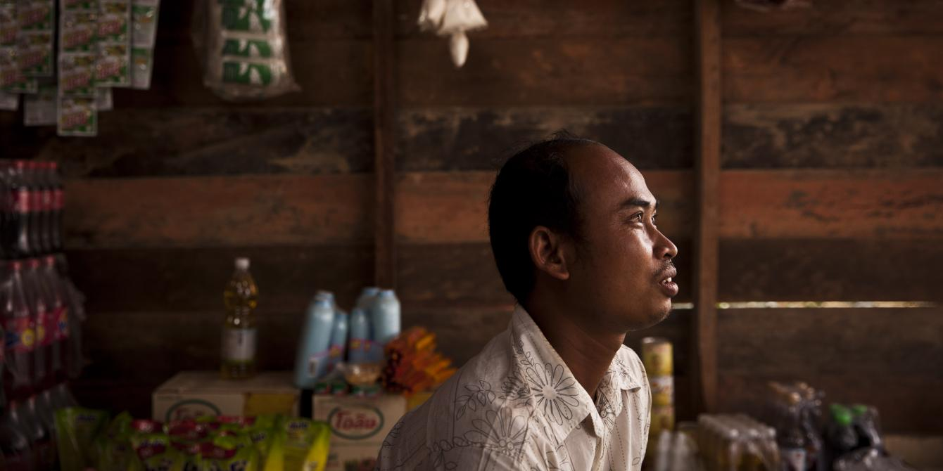 With a business plan, profits from rice farming, and a loan from his Saving for Change group, he bought some wood and built a store where he and his wife Hien Youb, 30, sell beer and other drinks, gasoline for clients on motorbikes, and all manner of groceries.