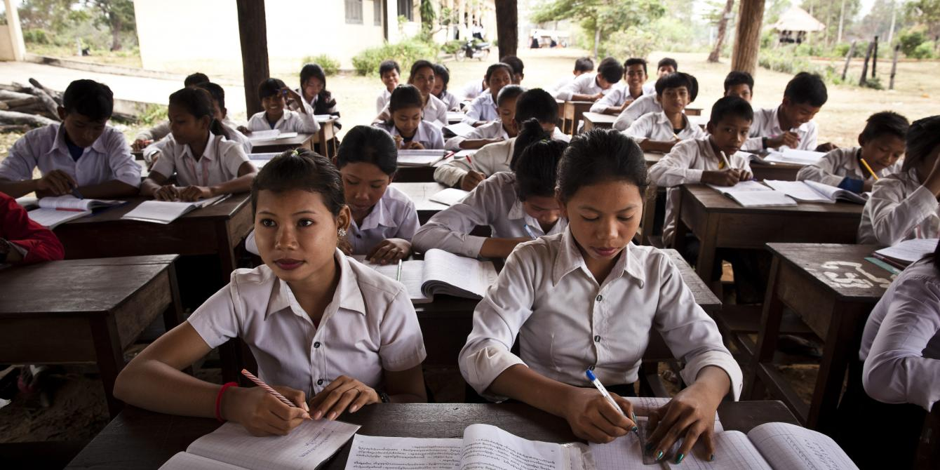 This high school in Samrong, Oddar Meanchey, has built an open-air classroom to meet the demand for space.