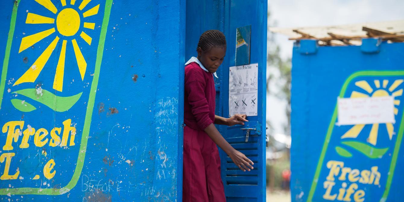 Irene Nzilani from Reuben Baptist Primary school in Mukuru Slum, Nairobi Kenya. This is one of the schools with Fresh life toilet. Photo Credit:Allan Gichigi / Oxfam