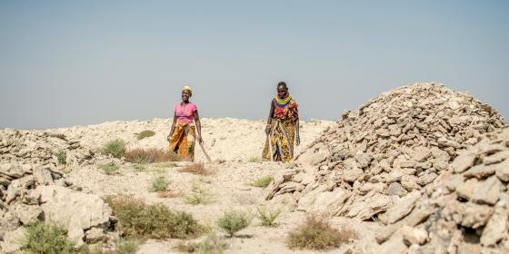 Helen Akuom, 50 and Nyartoe Nakwale 67 at he Gypsum mining field in Kapua Turkana County. Photo Credit: Joy Obuya