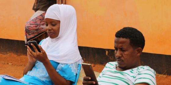 Yusuf Adan and Blandina Bobson, Oxfam team in Wajir county. Photo Credit Joyce Kabue