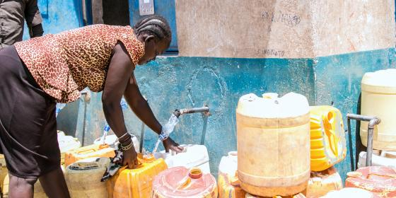 Roda Lokaale, fetching water at an Oxfam supported water point in Turkana. Photo Credit: Joy Obuya