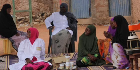 Habiba Hudhow  nyirinyiri (camel) meat trader in Wajir in a meeting with other women of her group. Photo Credit: Benson Guantai