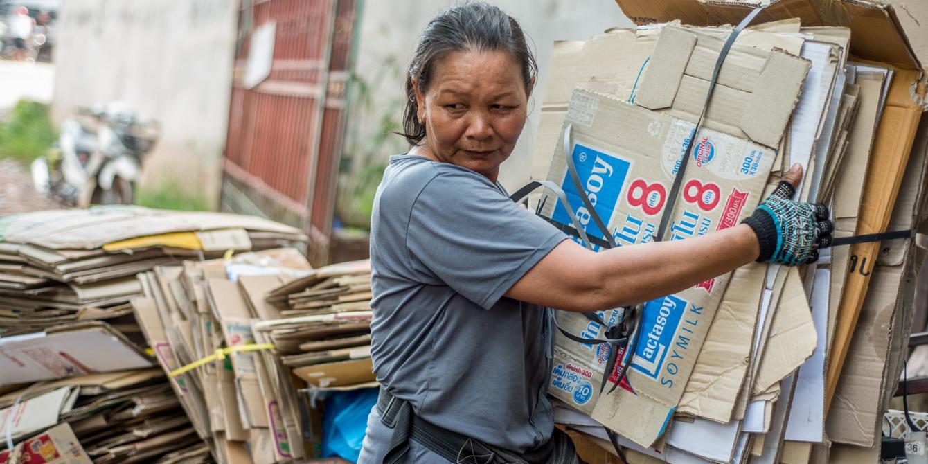 Female waste picker in Vientiane, Laos