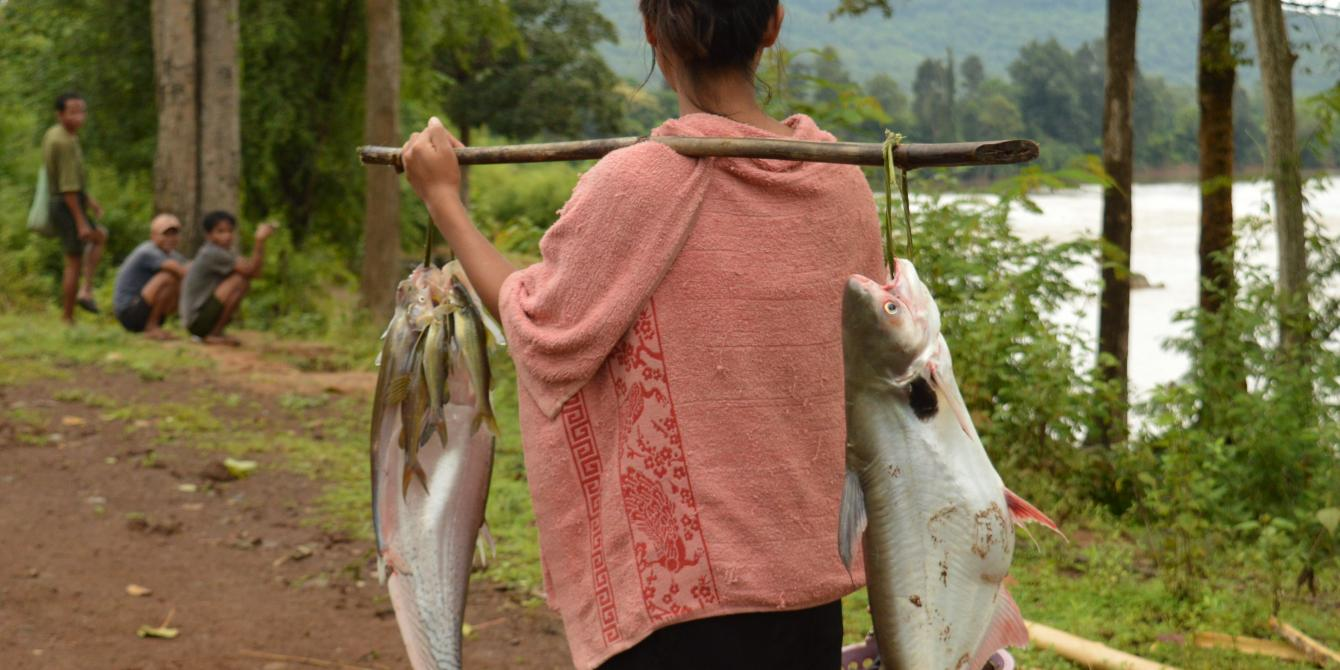 Woman carrying fish - Photo by:  Thome Xaisongkham, Oxfam in Laos