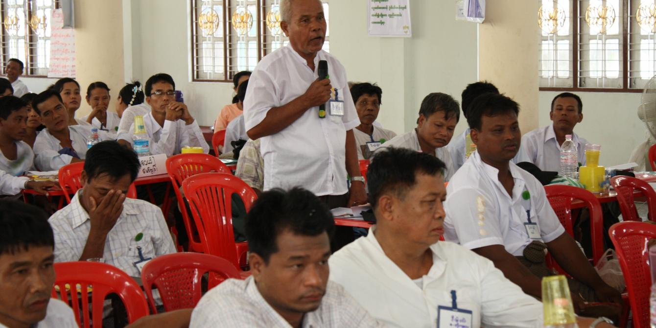 A man discussing in the CSO's forum in Ayeyarwaddy region. Photo by: Oxfam in Myanmar