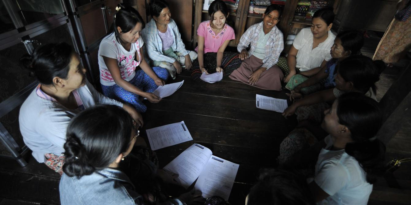 Women in Delta having community meeting, Photo by: Kaung Htet/Oxfam