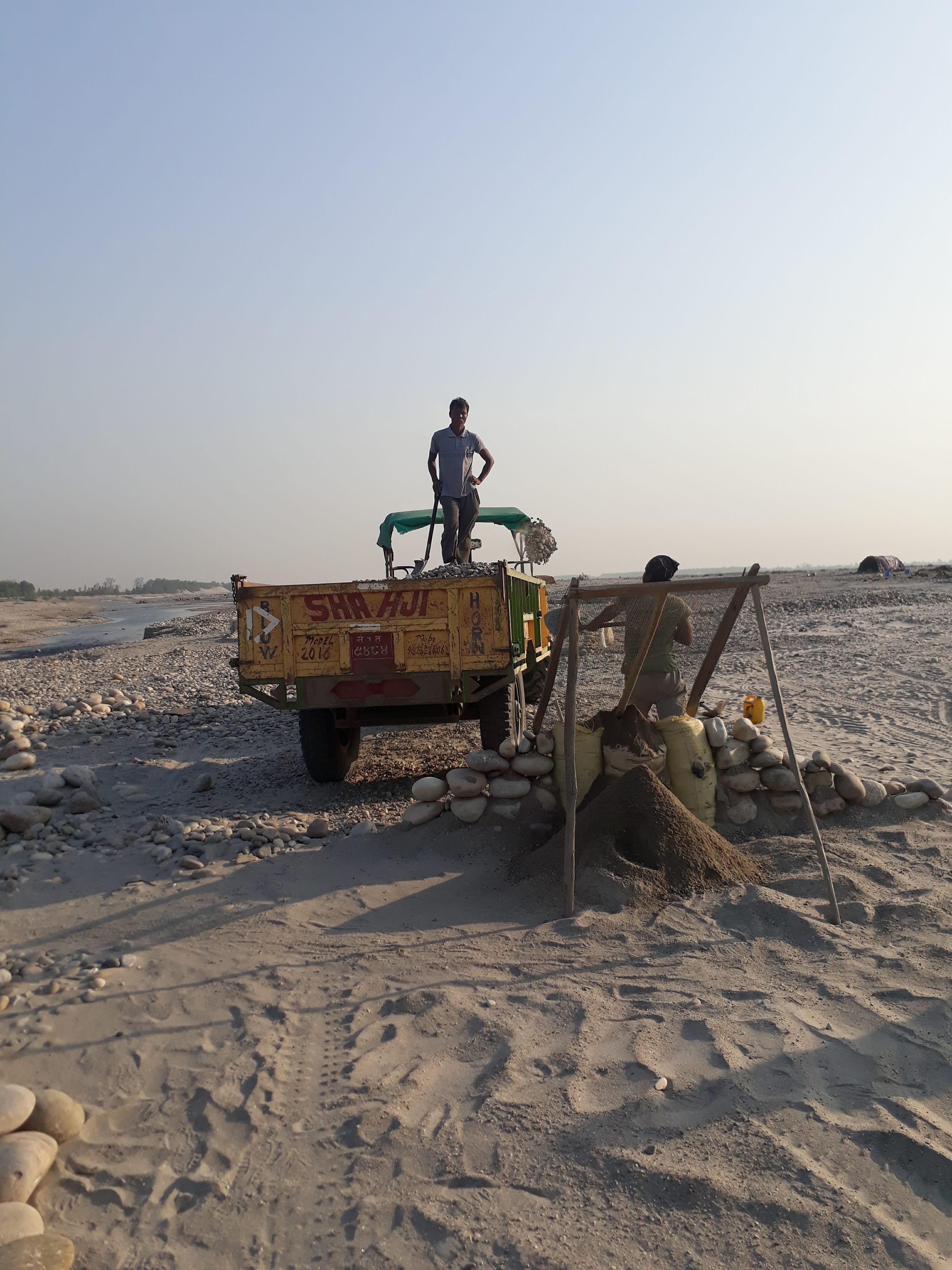 Sand mining on Mahakali River