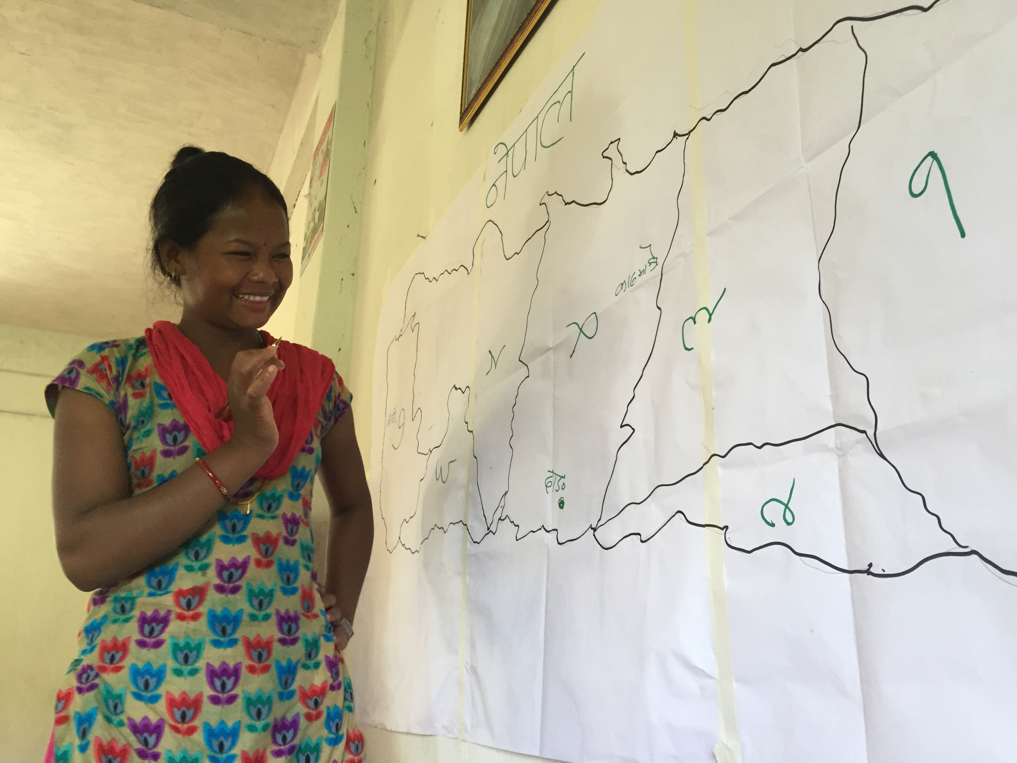 Kalpana, representing her district Sindhupalchowk in the advocacy training on land claiming process for reconstruction in Chitwan, Thimura.