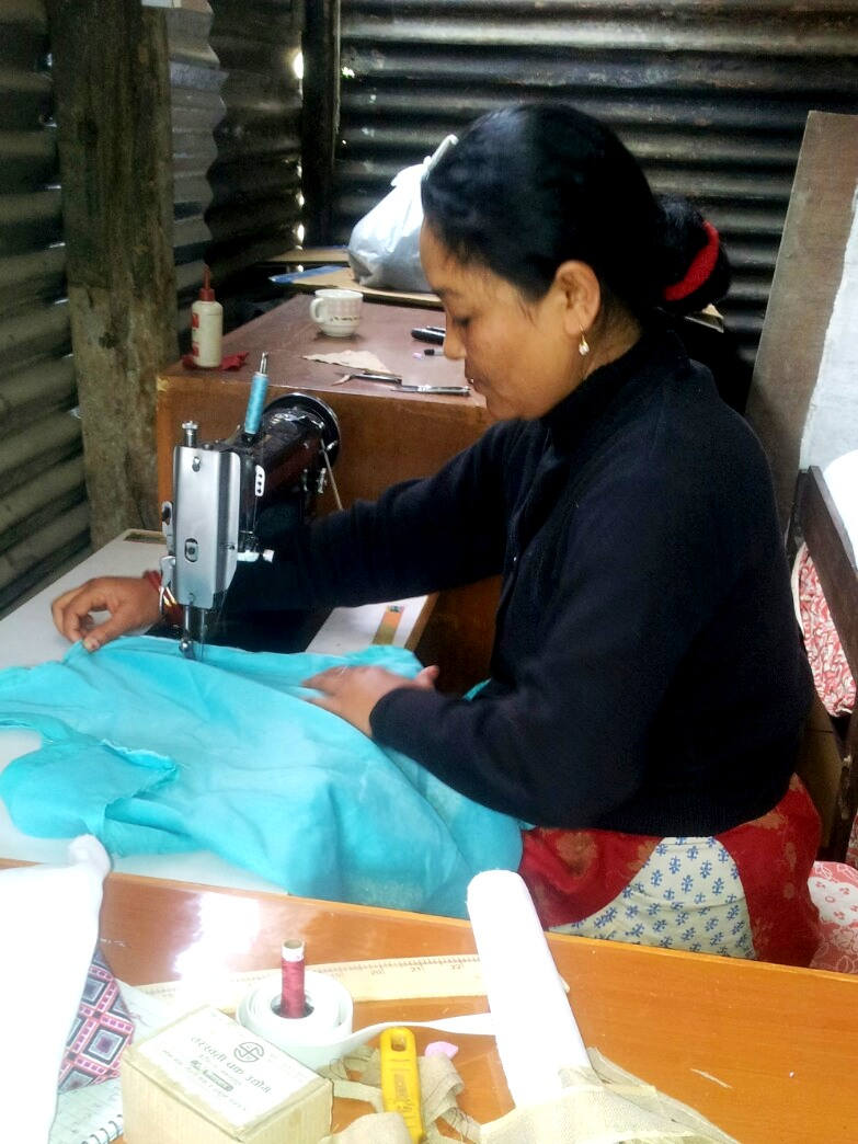 sabita with her new sewing machine