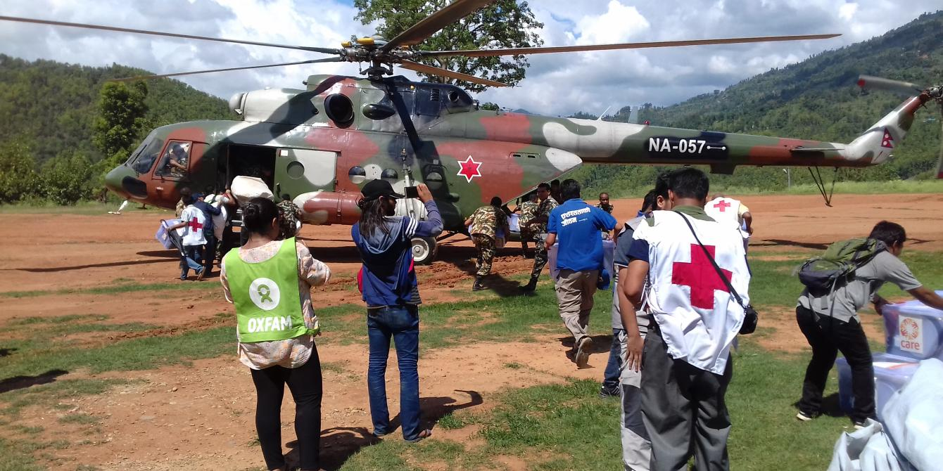 Nepal Army's helicopter airlifted relief items