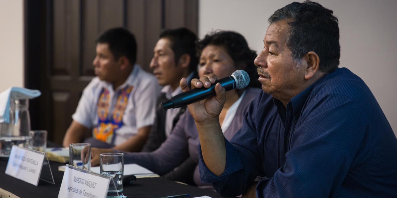 Testimonios de defensores ambientales locales. Ruperto Vásquez, Ana Rosa Mendoza, Rubén Chasquero y Ely Tangoa contaron las disputas por la tierra en Loreto y San Martín.