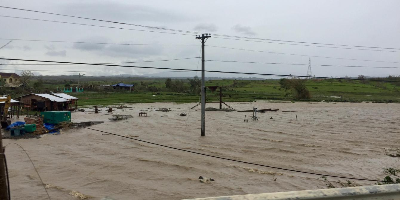 Rice fields turned into river