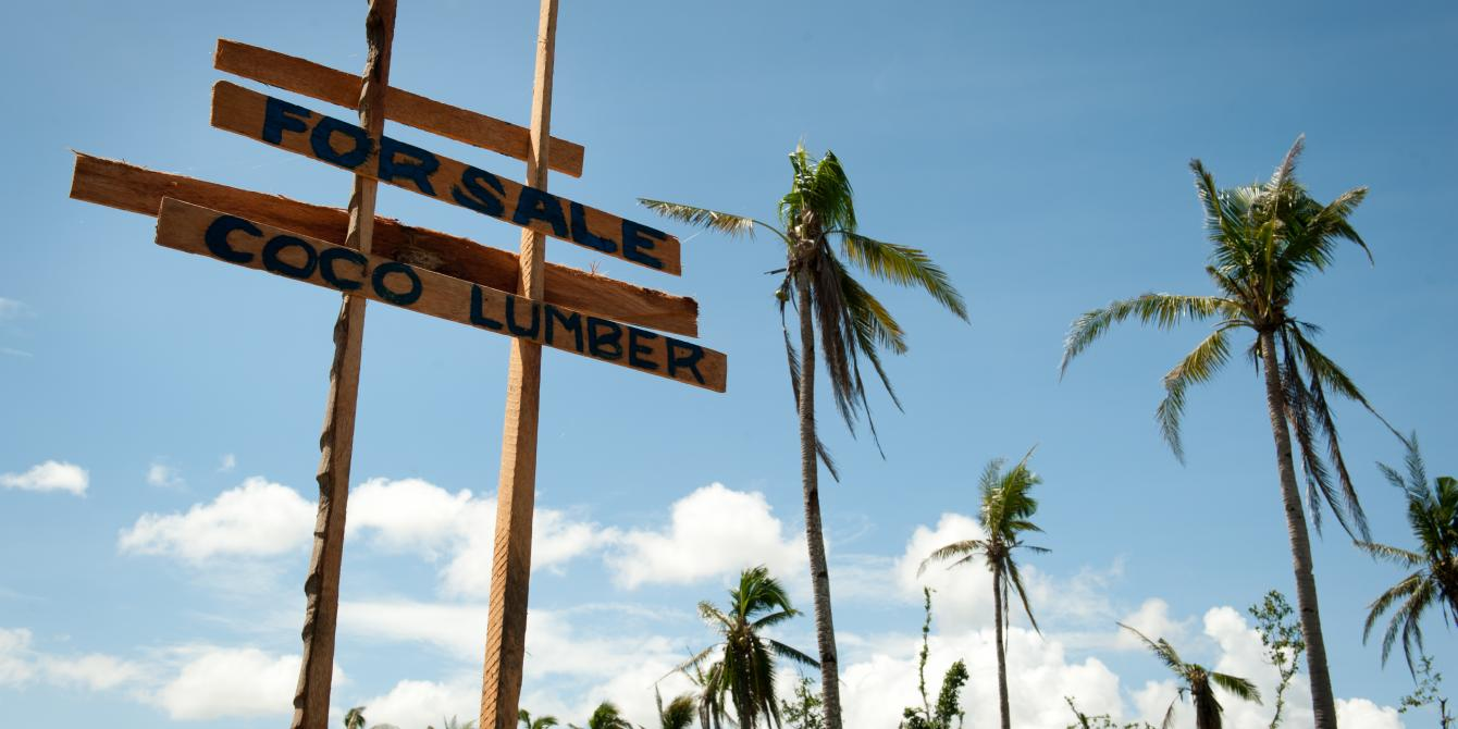 A sales sign advertising coconut lumber at the Tugop Farmers' Association, Leyte. (Photo: Eleanor Farmer/Oxfam)