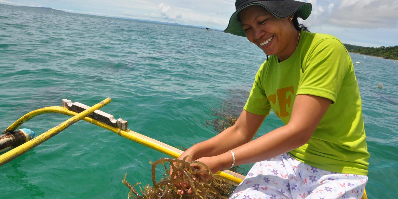 Daisybel Tablan, a member of the seaweeds farmers association from Eastern Samar, shows off her seaweeds ready for harvest (Photo: Maria Carolina Bello/Oxfam)