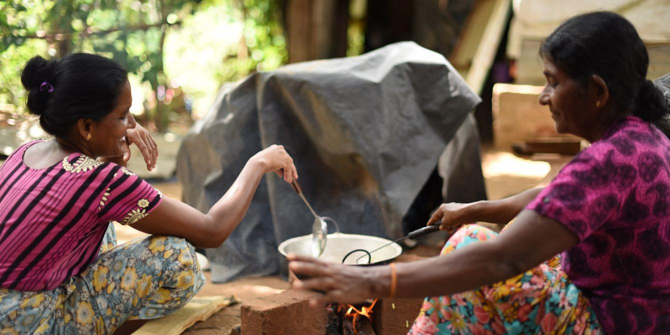 Women from an Oxfam assisted community in Polonnaruwa making rice cakes. Rice farmers earn more by selling value-added products. Photograph: Nipuna Kumbalathara/Oxfam
