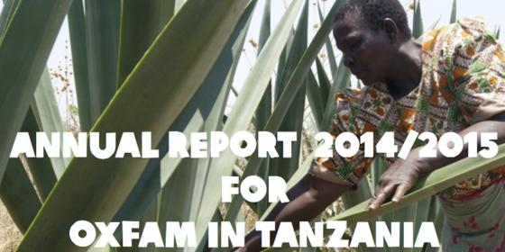 Oxfam in Tanzania Annual Report 2014 - 2015