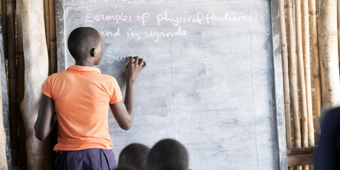 Student at World View Primary School, Palabek Settlement. Photo credit: Emmanuel Museruka/Oxfam