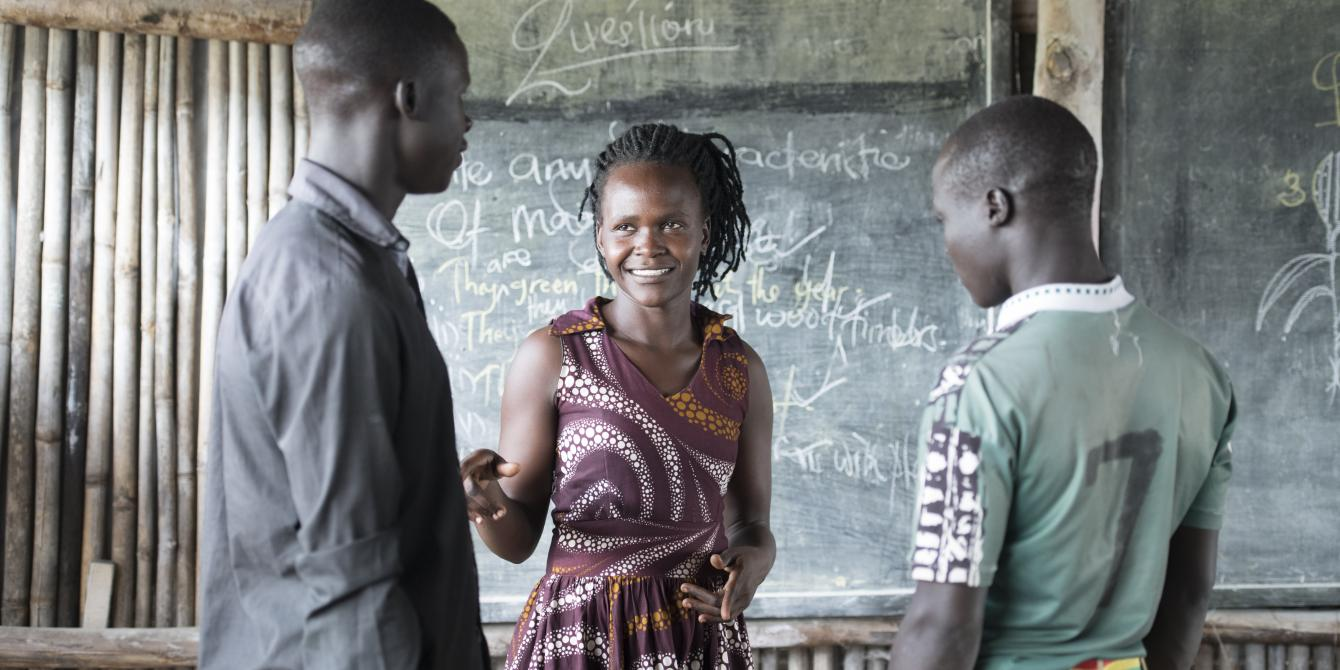 Beatrice Angee, teacher at Aywee nursery and primary school, Palabek Settlement. Photo credit:Emmanuel Museruka/Oxfam