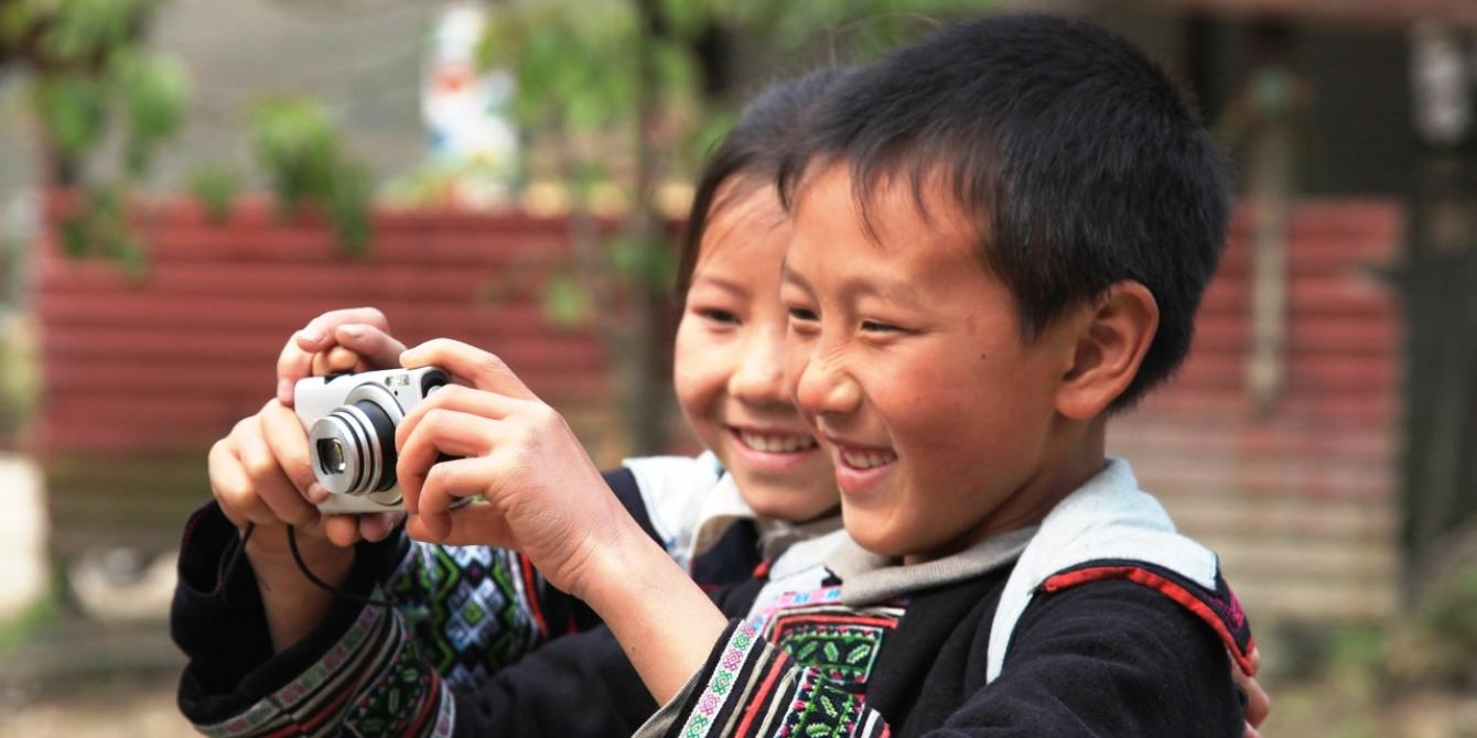 Ethnic children take part in a photovoice project. Credit: Oxfam Vietnam