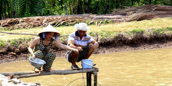 Shrimp farmers in the Mekong Delta. Credit: Oxfam Vietnam